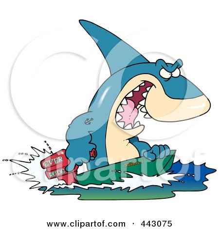 Royalty-Free (RF) Clip Art Illustration of a Cartoon Shark Steering A Boat by toonaday
