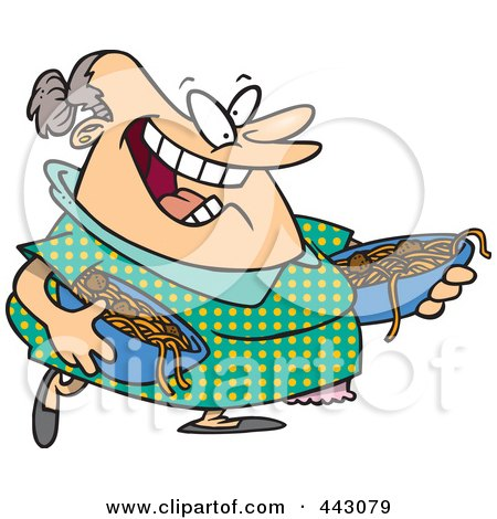 Royalty-Free (RF) Clip Art Illustration of a Cartoon Happy Woman Serving Spaghetti And Meatballs by toonaday