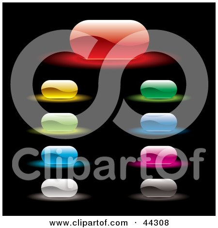 Royalty-free (RF) Clip Art Of A Rounded Rectangular Glowing Website Buttons In A Variety Of Colors by michaeltravers