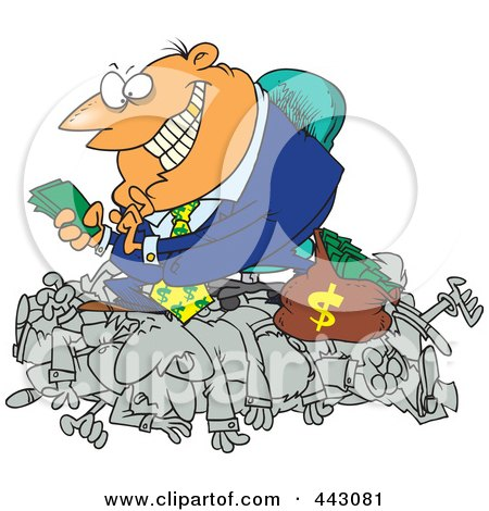 Royalty-Free (RF) Clip Art Illustration of a Cartoon Greedy Manager Counting His Money And Sitting On His Employees by toonaday