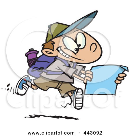 Royalty-Free (RF) Clip Art Illustration of a Cartoon Hiking Boy Using A Map by toonaday