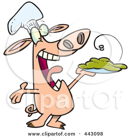 Royalty-Free (RF) Clip Art Illustration of a Cartoon Chef Pig Holding Up His Masterpiece by toonaday