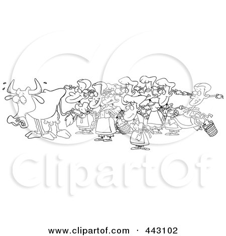 Royalty-Free (RF) Clip Art Illustration of a Cartoon Black And White Outline Design Of A Cow With Eight Milking Maids by toonaday