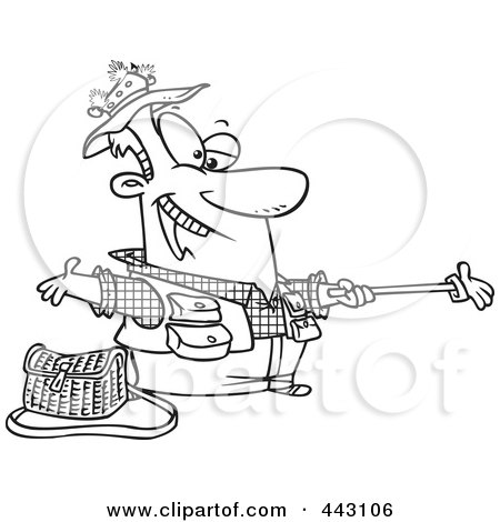 Royalty-Free (RF) Clip Art Illustration of a Cartoon Black And White Outline Design Of A Fisherman Holding Out A Glove On A Stick by toonaday