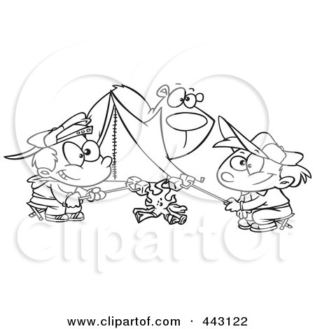 Royalty-Free (RF) Clip Art Illustration of a Cartoon Black And White Outline Design Of A Bear Watching Camping Boys Roast Marshmallows by toonaday