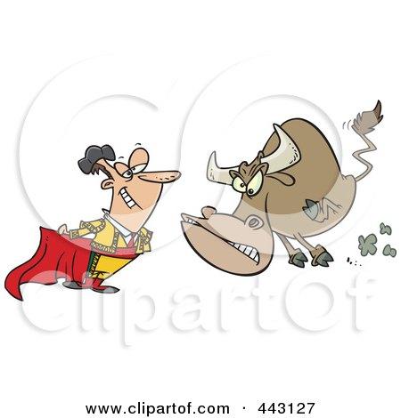 Royalty-Free (RF) Clip Art Illustration of a Cartoon Bull Charging A Matador by toonaday