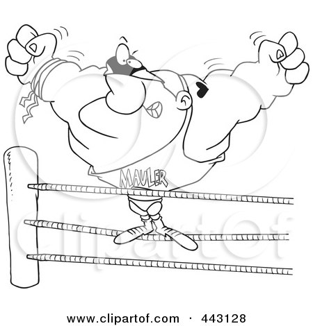 Royalty-Free (RF) Clip Art Illustration of a Cartoon Black And White Outline Design Of A Big Wrestler In The Ring by toonaday