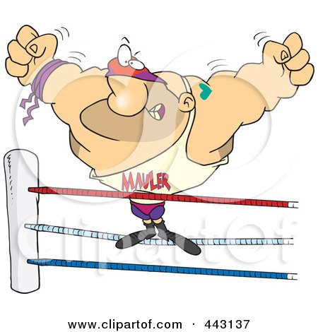 Royalty-Free (RF) Clip Art Illustration of a Cartoon Big Wrestler In The Ring by toonaday