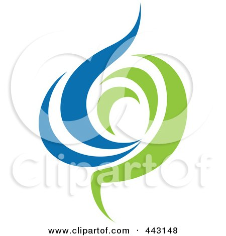 Royalty-Free (RF) Clip Art Illustration of a Green And Blue Ecology Logo Icon - 14 by elena