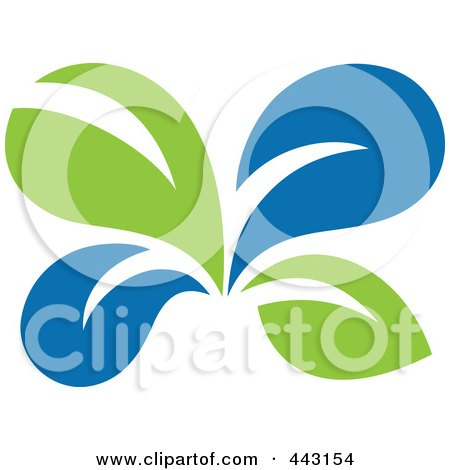 Royalty-Free (RF) Clip Art Illustration of a Green And Blue Ecology Logo Icon - 12 by elena