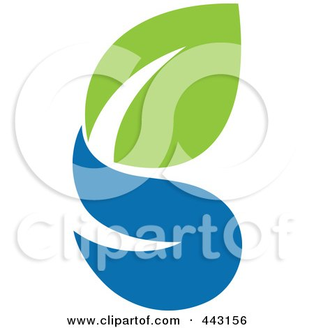 Royalty-Free (RF) Clip Art Illustration of a Green And Blue Ecology Logo Icon - 11 by elena