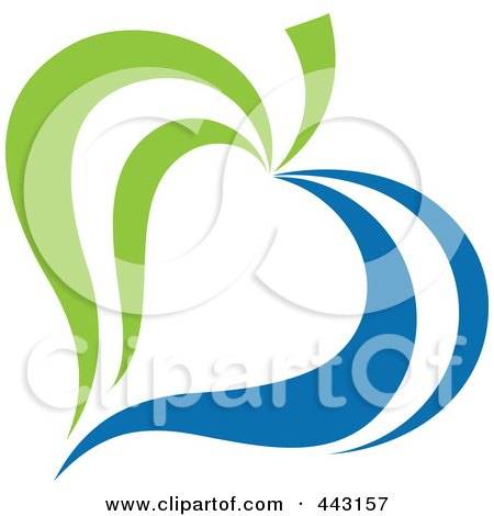 Royalty-Free (RF) Clip Art Illustration of a Green And Blue Ecology Logo Icon - 16 by elena