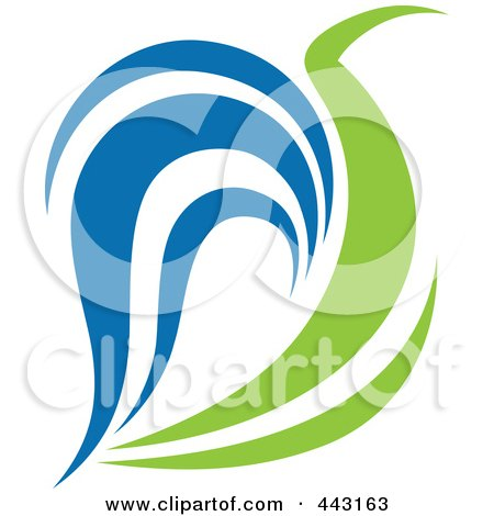 Royalty-Free (RF) Clip Art Illustration of a Green And Blue Ecology Logo Icon - 17 by elena