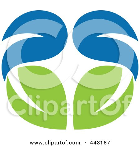 Royalty-Free (RF) Clip Art Illustration of a Green And Blue Ecology Logo Icon - 8 by elena