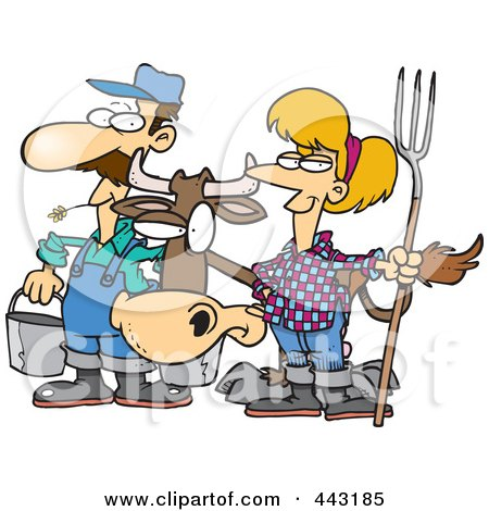Royalty-Free (RF) Clip Art Illustration of a Cartoon Farmer Couple With A Cow by toonaday