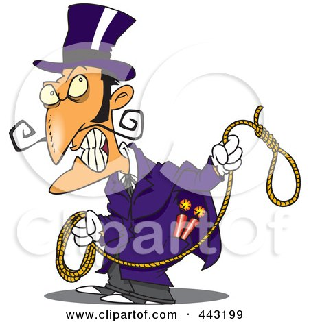 Royalty-Free (RF) Clip Art Illustration of a Cartoon Evil Man With A Noose by toonaday