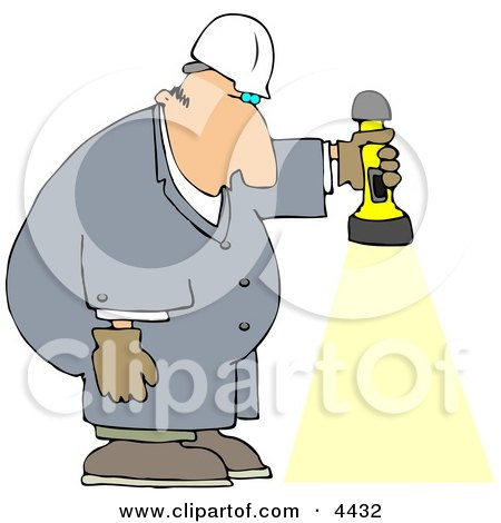 Male Worker Shining a Flashlight Towards the Ground Clipart by djart