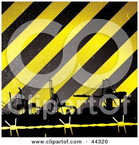 Royalty-free (RF) Clip Art Of Construction Tower Cranes Against Yellow And Black Striped Background by michaeltravers