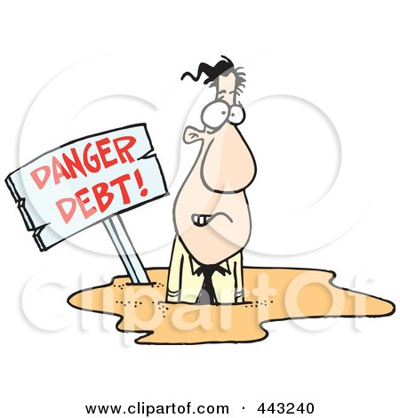 Royalty-Free (RF) Clip Art Illustration of a Cartoon Businessman Drowning In Debt by toonaday