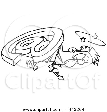 Royalty-Free (RF) Clip Art Illustration of a Cartoon Black And White Outline Design Of An Email Symbol Crushing A Businessman by toonaday