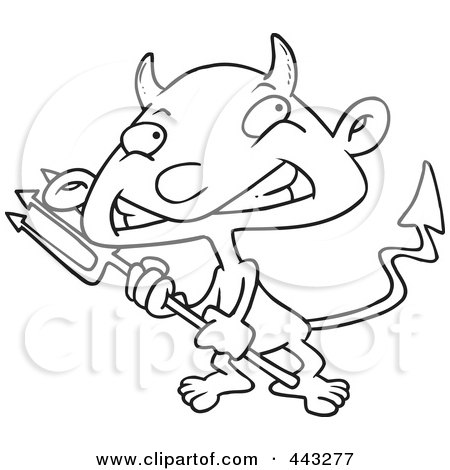 Royalty-Free (RF) Clip Art Illustration of a Cartoon Black And White Outline Design Of A Boy Devil by toonaday