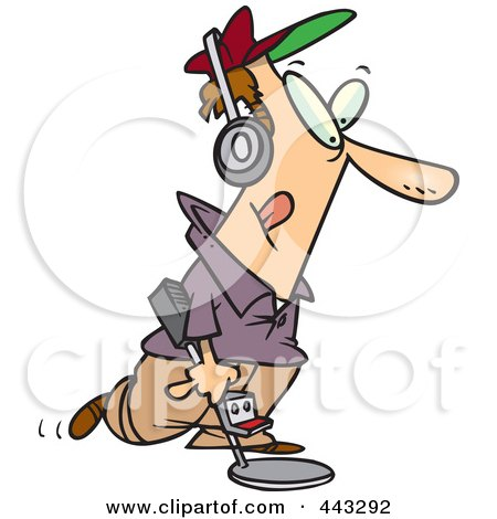 Royalty-Free (RF) Clip Art Illustration of a Cartoon Man Using A Metal Detector by toonaday
