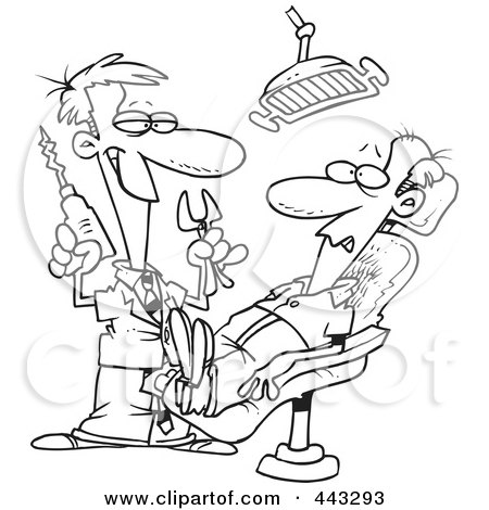 Royalty-Free (RF) Clip Art Illustration of a Cartoon Black And White Outline Design Of A Dentist Holding Pliers And A Drill Over A Patient by toonaday