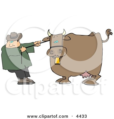Cowboy Rancher Trying to Move One of His Cow's Clipart by djart
