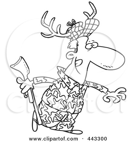 Royalty-Free (RF) Clip Art Illustration of a Cartoon Black And White Outline Design Of A Deer Hunter Wearing Antlers by toonaday