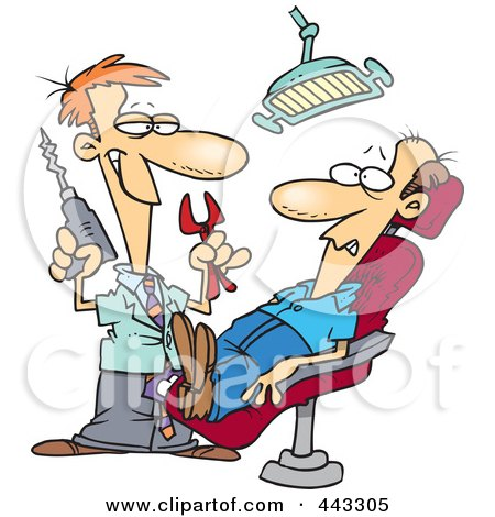Cartoon Dentist Holding Pliers And A Drill Over Patient