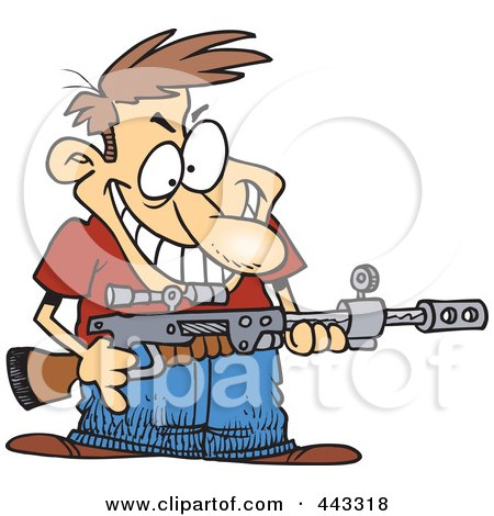 Royalty-Free (RF) Clip Art Illustration of a Cartoon Demented Man Holding A Gun by toonaday