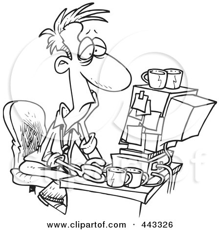 Royalty-Free (RF) Clip Art Illustration of a Cartoon Black And White Outline Design Of An Exhausted Man Working On A Computer by toonaday