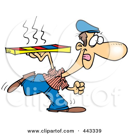 Royalty-Free (RF) Clip Art Illustration of a Cartoon Pizza Delivery Man Running by toonaday