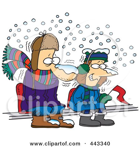 Royalty-Free (RF) Clip Art Illustration of Cartoon Diehard Fans Sitting In The Snow by toonaday