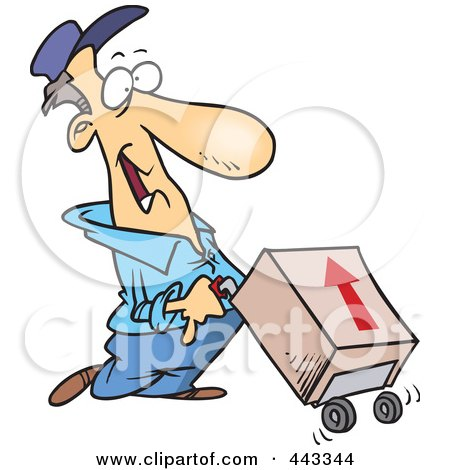 Royalty-Free (RF) Clip Art Illustration of a Cartoon Delivery Man With A Package On A Dolly by toonaday