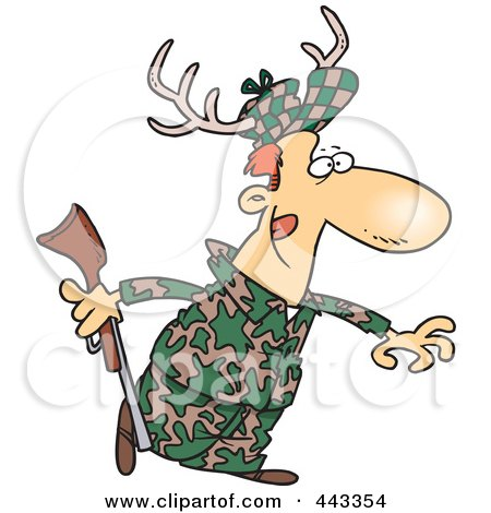 Royalty-Free (RF) Clip Art Illustration of a Cartoon Deer Hunter Wearing Antlers by toonaday
