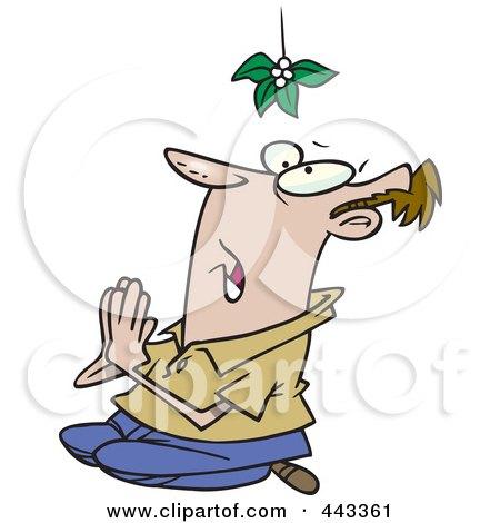 Royalty-Free (RF) Clip Art Illustration of a Cartoon Desperate Man Praying Under Mistletoe by toonaday