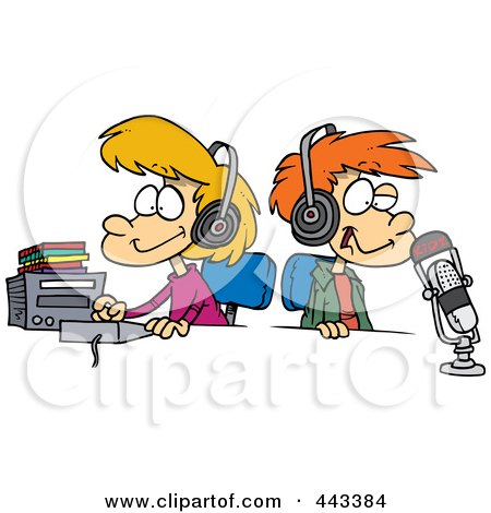 Royalty-Free (RF) Clip Art Illustration of Cartoon Two Kid DJs by toonaday