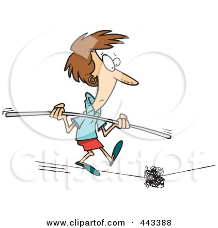 Royalty-Free (RF) Clip Art Illustration of a Cartoon Woman Coming Across A Dilemma On A Tight Rope by toonaday