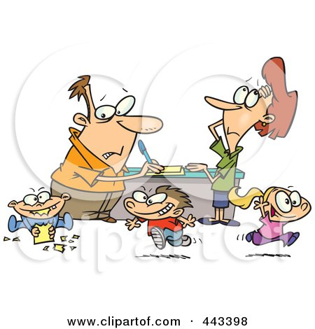 Royalty-Free (RF) Clip Art Illustration of a Cartoon Couple Distracted By Their Children by toonaday