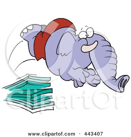 Royalty-Free (RF) Clip Art Illustration of a Cartoon Elephant Jumping Off A Diving Board by toonaday