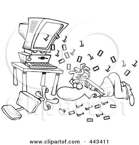Royalty-Free (RF) Clip Art Illustration of a Cartoon Black And White Outline Design Of Binary Code Shooting Out At A Businessman by toonaday