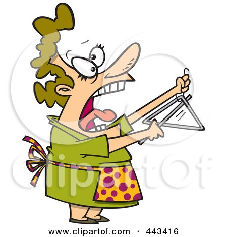Royalty-Free (RF) Clip Art Illustration of a Cartoon Woman Shouting And Ringing A Dinner Bell by toonaday