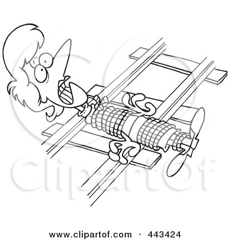 Royalty-Free (RF) Clip Art Illustration of a Cartoon Black And White Outline Design Of A Damsel In Distressed, Tied To Railroad Tracks by toonaday