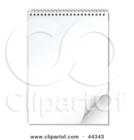Print quality royalty-free clipart illustrations of a spiral notepad with