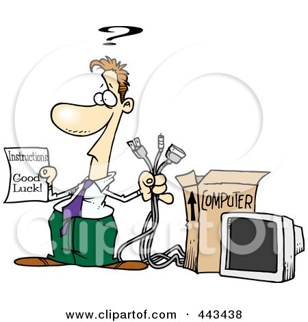 Royalty-Free (RF) Clip Art Illustration of a Cartoon Businesman Trying To Assemble A Computer by toonaday