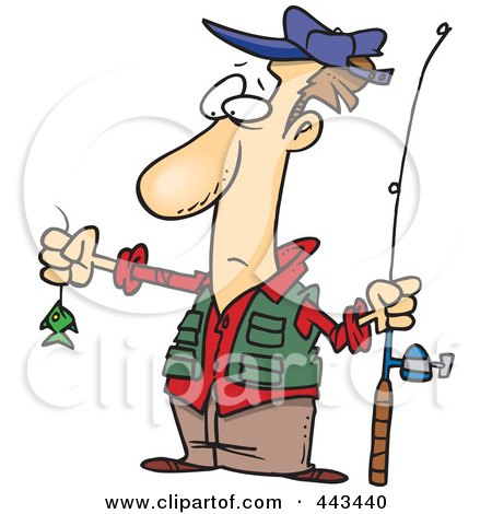 Royalty-Free (RF) Clip Art Illustration of a Cartoon Disappointed Fisherman With A Tiny Fish by toonaday