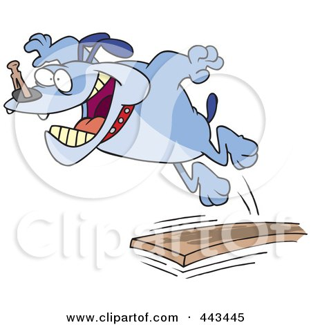 Royalty-Free (RF) Clip Art Illustration of a Cartoon Bulldog Jumping Off Of A Diving Board by toonaday
