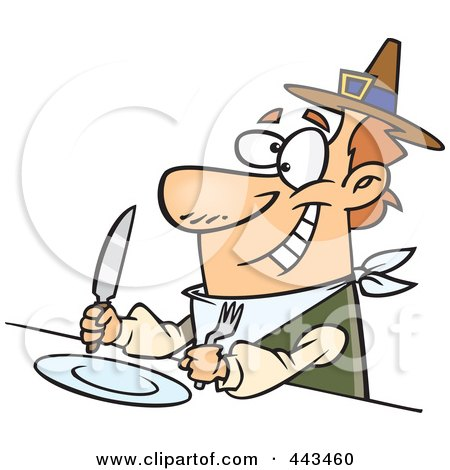Royalty-Free (RF) Clip Art Illustration of a Cartoon Hungry Pilgrim Awaiting His Dinner by toonaday