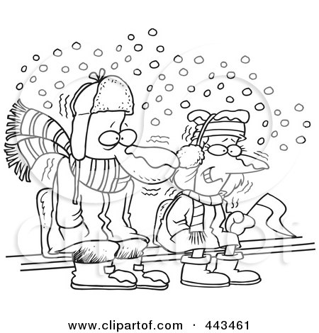 Royalty-Free (RF) Clip Art Illustration of a Cartoon Black And White Outline Design Of Diehard Fans Sitting In The Snow by toonaday